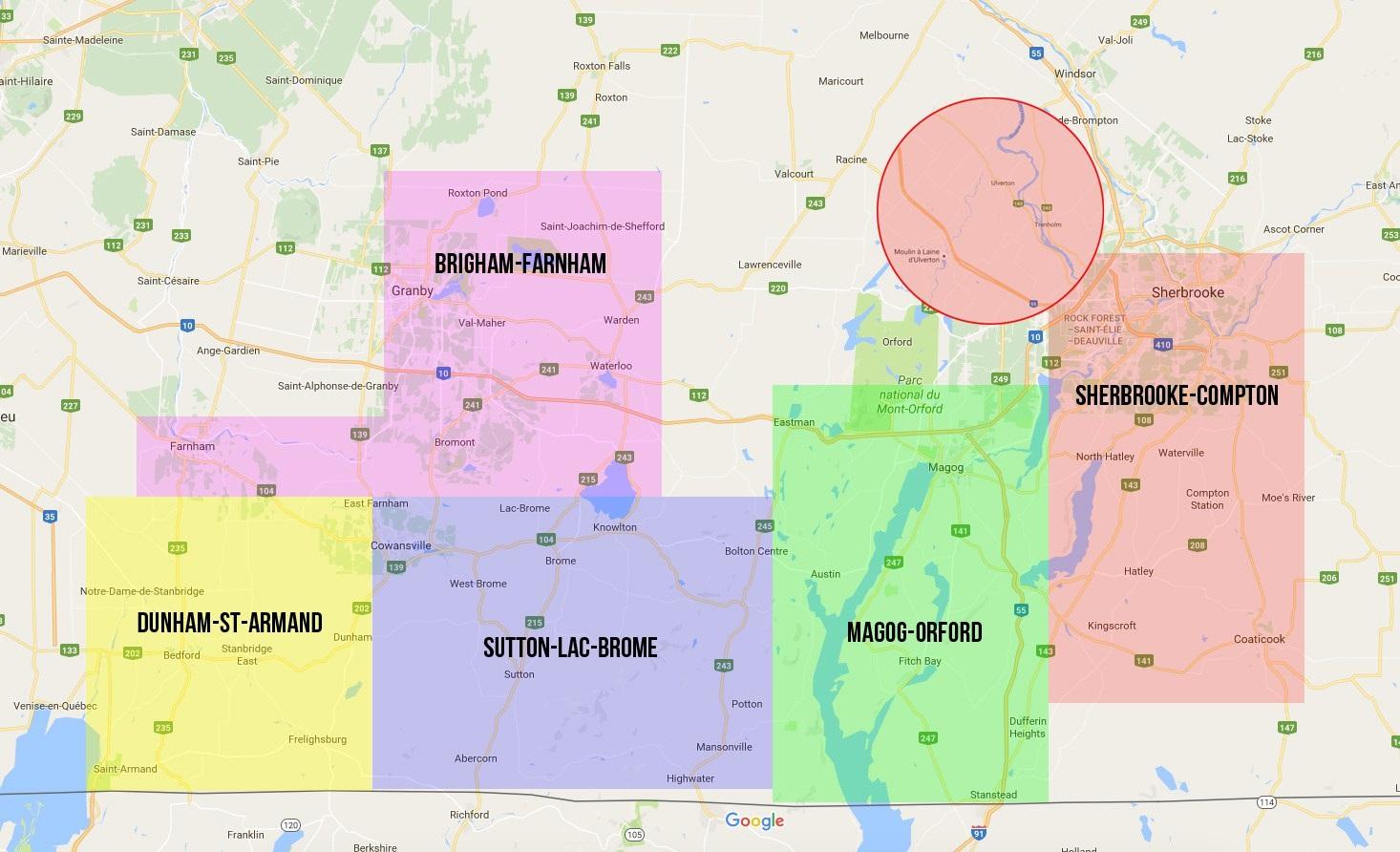 Carte des cinq zones viticoles